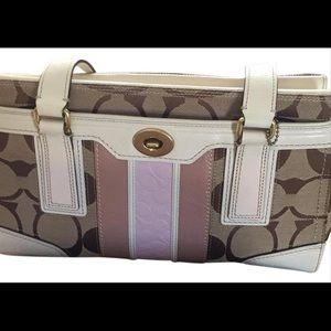 Coach designer leather monogram satchel